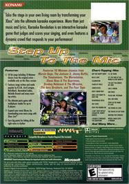 Box back cover for Karaoke Revolution on the Microsoft Xbox.