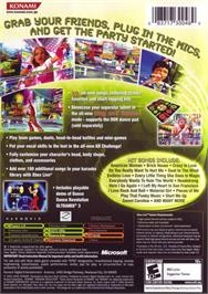 Box back cover for Karaoke Revolution Party on the Microsoft Xbox.