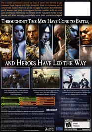 Box back cover for Kingdom Under Fire: Heroes on the Microsoft Xbox.