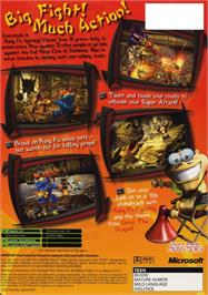 Box back cover for Kung Fu Chaos on the Microsoft Xbox.