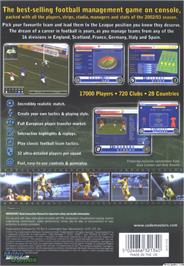 Box back cover for LMA Manager 2003 on the Microsoft Xbox.