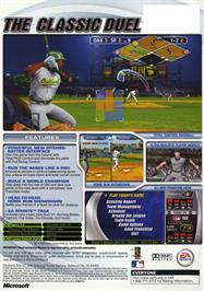 Box back cover for MVP Baseball 2003 on the Microsoft Xbox.