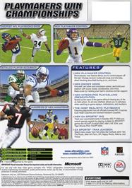 Box back cover for Madden NFL 2004 on the Microsoft Xbox.