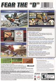 Box back cover for Madden NFL 2005 on the Microsoft Xbox.