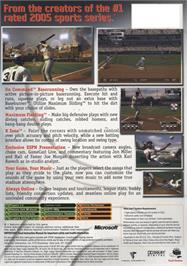 Box back cover for Major League Baseball 2K5 on the Microsoft Xbox.