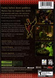 Box back cover for Malice on the Microsoft Xbox.