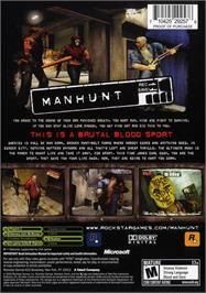 Box back cover for Manhunt on the Microsoft Xbox.
