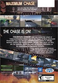 Box back cover for Maximum Chase on the Microsoft Xbox.