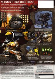 Box back cover for MechAssault on the Microsoft Xbox.