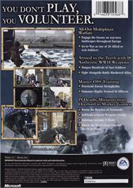 Box back cover for Medal of Honor: Frontline on the Microsoft Xbox.