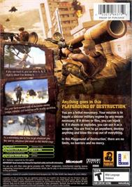 Box back cover for Mercenaries: Playground of Destruction on the Microsoft Xbox.