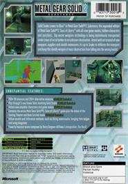 Box back cover for Metal Gear Solid 2: Substance on the Microsoft Xbox.