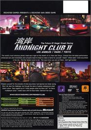 Box back cover for Midnight Club 2 on the Microsoft Xbox.