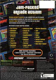Box back cover for Midway Arcade Treasures on the Microsoft Xbox.
