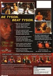 Box back cover for Mike Tyson Heavyweight Boxing on the Microsoft Xbox.