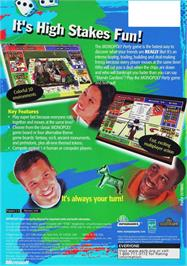 Box back cover for Monopoly Party on the Microsoft Xbox.
