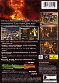 Box back cover for Mortal Kombat: Armageddon on the Microsoft Xbox.