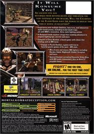 Box back cover for Mortal Kombat: Deception on the Microsoft Xbox.