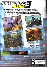 Box back cover for Motocross Mania 3 on the Microsoft Xbox.