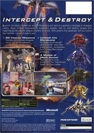 Box back cover for Murakumo: Renegade Mech Pursuit on the Microsoft Xbox.