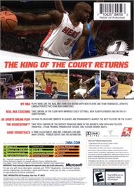 Box back cover for NBA 2K7 on the Microsoft Xbox.