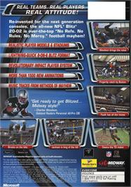 Box back cover for NFL Blitz 20-02 on the Microsoft Xbox.