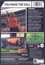Box back cover for NFL Head Coach on the Microsoft Xbox.
