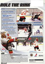 Box back cover for NHL 2003 on the Microsoft Xbox.