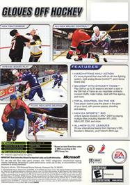 Box back cover for NHL 2004 on the Microsoft Xbox.