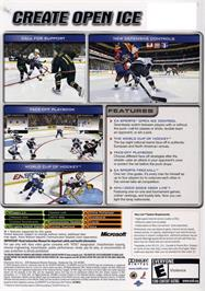Box back cover for NHL 2005 on the Microsoft Xbox.