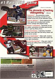 Box back cover for NHL 2K6 on the Microsoft Xbox.