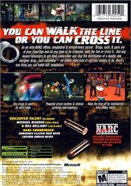 Box back cover for Narc on the Microsoft Xbox.