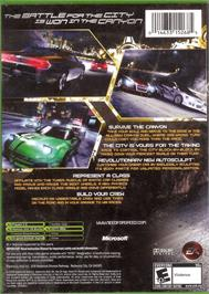 Box back cover for Need for Speed: Carbon on the Microsoft Xbox.