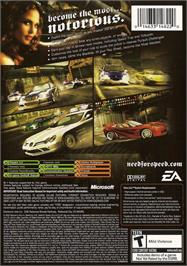 Box back cover for Need for Speed: Most Wanted on the Microsoft Xbox.