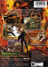 Box back cover for Ninja Gaiden on the Microsoft Xbox.
