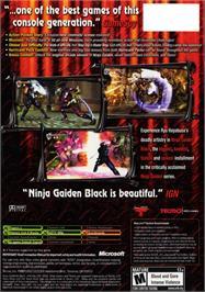 Box back cover for Ninja Gaiden Black on the Microsoft Xbox.