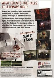 Box back cover for ObsCure on the Microsoft Xbox.