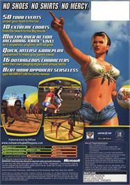 Box back cover for Outlaw Volleyball: Red Hot on the Microsoft Xbox.