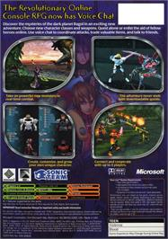 Box back cover for Phantasy Star Online Episode I & 2 on the Microsoft Xbox.