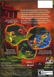 Box back cover for Pitfall: The Lost Expedition on the Microsoft Xbox.