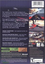 Box back cover for Powerdrome on the Microsoft Xbox.
