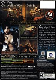 Box back cover for Prince of Persia: Warrior Within on the Microsoft Xbox.