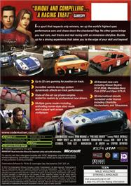 Box back cover for Pro Race Driver on the Microsoft Xbox.
