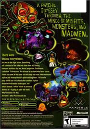 Box back cover for Psychonauts on the Microsoft Xbox.