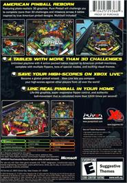 Box back cover for Pure Pinball on the Microsoft Xbox.