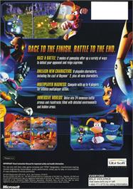Box back cover for Rayman Arena on the Microsoft Xbox.