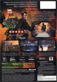 Box back cover for Return to Castle Wolfenstein: Tides of War on the Microsoft Xbox.