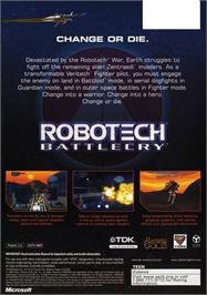 Box back cover for Robotech: Battlecry (Collector's Edition) on the Microsoft Xbox.