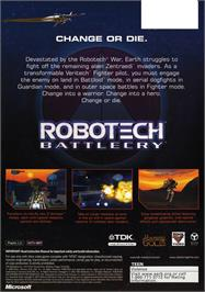 Box back cover for Robotech: Battlecry on the Microsoft Xbox.