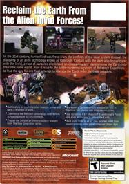Box back cover for Robotech: Invasion on the Microsoft Xbox.
